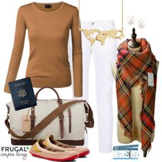 Frugal Fashion Friday Plane Outfit - ready for travel or leaving on a jet plane, enjoy this jetset outfit. Outfit for Travel. Polyvore Style. Outfit of the Day.