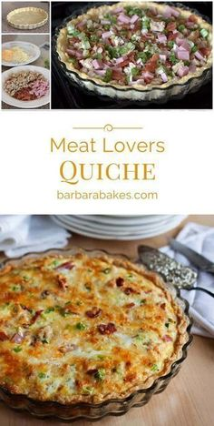 This Meat Lovers Quiche is loaded with ham bacon sausage and cheese in a tender flaky crust. A perfect breakfast for a birthday holiday or breakfast lunch or dinner any day of the week. Quiche Recipes, Egg Recipes, Gourmet Recipes, Cooking Recipes, Recipes Dinner, Meat Quiche Recipe, Cooking Cake, Sushi Recipes, Vegetarian Recipes