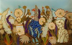 Another unique Hand Painted Splashback design with all the clients favorite things. Her Bedlington Terrier and Honey Bees in the Garden. All done in Taupe and pale blues to match the kitchen. With a Stained glass effect. Those were the thoughts and this is my interpretation.