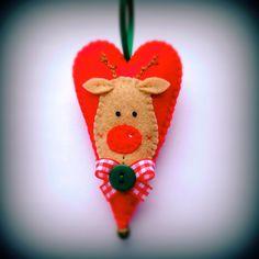 Felt Rudolph Christmas heart ornament