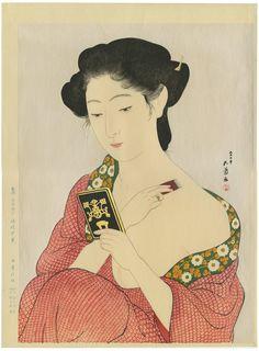 Geisha Applying Powder, Authentic Japanese woodblock print landscape by Hashiguchi Goyo