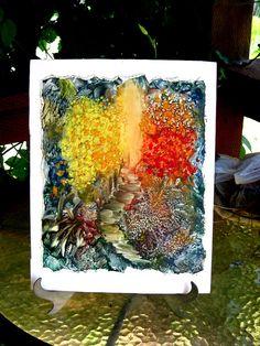 Original Encaustic Impressionist Fantasy Garden by StudioSabine, $60.00