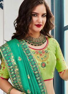 Parrot Green Jacquard Silk Traditional Woven Lehenga Choli with Embroidered Border Banarasi Lehenga, Silk Lehenga, Silk Sarees, Plain Lehenga, Green Lehenga, Hand Work Embroidery, Embroidered Clothes, Green Blouse, Green Silk