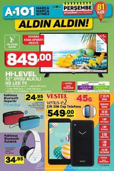 A101 22 Haziran 2017 yeni aktüel ürünleri broşürü çıktı. İndirimli Aktüel Ürünler ile ilgili A101 Aldın Aldın! -22 Haziran 2017 Aktüel Ürünler Kataloğunda dikkat çeken ürünler arasında HI-Level 32″ Uydu alıcılı LED TV 849 TL, Vestel Venus e2 549 TL'den satılıyor. #a101