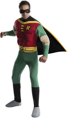 Deluxe Robin Muscle Chest jumpsuit with attached boot tops, belt, cape and eye mask.