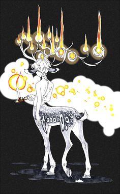 by sqribble | centaur faun w/ antlers