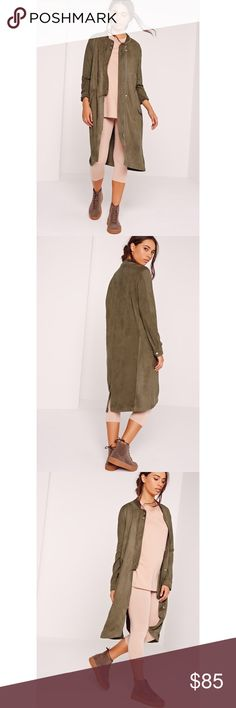 MISSGUIDED Suede Khaki Jacket New Missguided Jackets & Coats