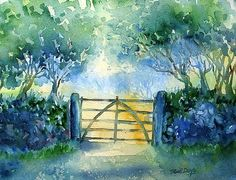 Watercolour of an Irish farm gateway at morning leading into a field of ripe barley.  These gates are ubiquitous in Ireland -commonplace and mundane yet beautiful in their simplicity and usefulness. I have painted many of them -this is my current favourite. Sunlit Autumn morning scene,the harvest of ripe crops ready for cutting -soon the gate will be thrown open and the work will begin.  Prints & Cards available. Original €300