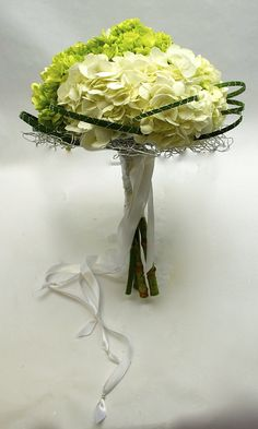 Green and White Hydrangea Bouquet using wire as a contrast element