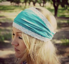 Aqua and Lace Wide Headband Stretch Jersey Hairwrap Headwrap Head Band. $18.00, via Etsy.