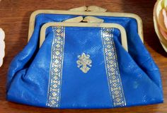 Vintage Bright Royal Blue and Gold Accents Soft Leather Change Purse Austria by OffbeatAvenue on Etsy