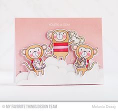 Cheeky Monkey, Cheeky Monkey Die-namics, Stitched Cloud Edges Die-namics - Melania Deasy #mftstamps blog kit sample;