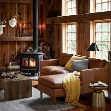 New Living Room Sectional Brown West Elm 24 Ideas Living Room Sectional, Living Room Grey, Living Room Cabin, Knotty Pine Living Room, Cosy Living Room Decor, Log Cabin Bedrooms, Country Cottage Living Room, Cottage Lounge, Black Sectional