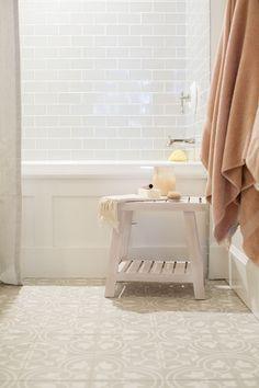 Jillian Harris Home Tour Series Spare Bedroom and Bathroom fireclay tile Barn Wood Bathroom, Add A Bathroom, Rustic Bathroom Vanities, Bathroom Renos, Basement Bathroom, Bathrooms, Bathroom Ideas, Coral Bathroom, Bathroom Cabinets