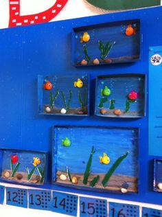 -- Lagere school -- Aquarium van een schoenendoosdeksel. Thema zee