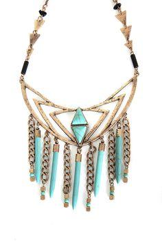 FS Necklace Boho Turquoise Aztec FamousStyle.com $32.00