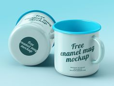 Free enamel mugs mockup on Behance
