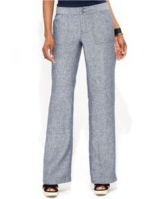 INC International Concepts Pants, Wide-Leg Chambray-Linen - Pants & Capris - Women - Macy's