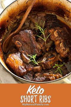 Paleo Short Ribs Recipe with Garlic and Rosemary - My Natural Family These Keto short ribs are a good low carb oven recipe and get super tender. They are perfect for a special occasion and will impress everyone no matter what diet they are on. Low Fat Low Carb, Low Fat Diets, Low Carb Diet, Healthy Low Carb Recipes, Low Carb Dinner Recipes, Keto Dinner, Protein Recipes, Dinner Menu, Lunch Recipes