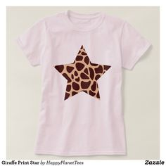 Giraffe Print Star T-Shirt   Head out in style with this seasons must have ; animal print!   #style #trend #summer #animal #animalprint #animalskin #wildlife #fashion #tee #tshirt #giraffe #star