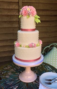 Round Wedding Cakes - A rosy posy dotty cake in beautiful spring colours