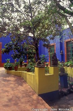 Frida's home, where she was bien and where she lived with Diego. La Casa Azul, now a Museum in Coyoacan, MX.
