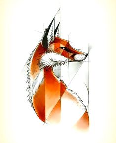 Awesome fox drawing design. Color: Orange. Tags: Cool, Creative, Awesome