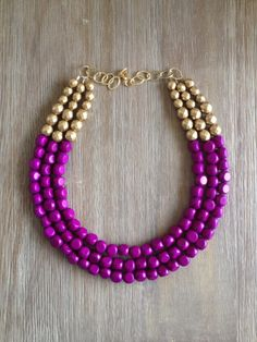 Radiant Orchid and Gold Statement Necklace