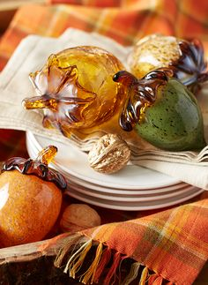 As beautiful and important as they are in nature, acorns deserve to be celebrated with special materials and artistic consideration. Pier 1's assortment is made from beautifully marbled amber, verdigris and java glass, as well as crackled amber glass. Place your collection in a centerpiece or on a mantel or countertop. Thanksgiving Traditions, Thanksgiving Feast, Thanksgiving Tablescapes, Hello Autumn, Autumn Day, Tartan, Plaid, Harvest Time, Fall Harvest