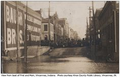 A view from First and Main Streets in Vincennes, IN during the record 1913 flood