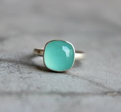 Cabochon ring - Bezel ring - Blue ring - Chalcedony ring - Square ring - Unique ring - Cushion cut - Gift for her by Studio1980 on Etsy https://www.etsy.com/listing/193103765/cabochon-ring-bezel-ring-blue-ring