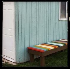 Colorful DIY bench for the garden or the home.  So cute!