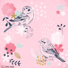 Little Sparrows bird and floral illustration / pattern by Melbourne artist Lamai Anne.