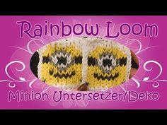 Minion Untersetzer Dekopad / Rainbow Loom / Loom Bands / Anleitung / Tutorial / deutsch - YouTube