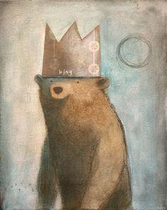 Bear King by SethFitts on DeviantArt Urso Bear, Arte Peculiar, Bear Drawing, Art Vintage, Theme Noel, Bear Art, Illustrations, Children's Book Illustration, Whimsical Art