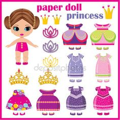 """Buy the royalty-free Stock vector """"Paper doll princess with a set of clothes. vector"""" online ✓ All rights included ✓ High resolution vector file for pri. Paper Dolls Clothing, Doll Clothes, Paper Toys, Paper Crafts, Disney Paper Dolls, Image Paper, Paper Dolls Printable, Colored Paper, Free Paper"""