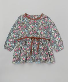 Take a look at this Leighton Alexander Gray & Pink Floral A-Line Dress - Kids today!