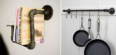 pipe pot rack, kitchen pot rack DIY, industrial bookshelf, interesting book storage, funky pot rack