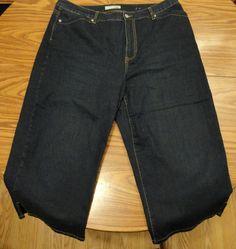 "Chicos Platinum Denim Blue Dalynn CP Capri Cropped Jean Wide Leg Sz 3 Waist 19"" #ChicosPlatinum #CaprisCropped"