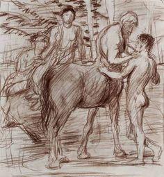 """kundst: """" Hans von Marées (Ger. 1837 - 1887) Cheiron und Achilles München: Staatl.graph.Sammlgn. """""""