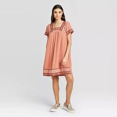 30 Everyday Dresses to Wear at Home This Summer Linen Dress Pattern, Casual Dresses, Summer Dresses, Mini Shirt Dress, Knox Rose, Coral Dress, Everyday Dresses, Tiered Dress, Babydoll Dress