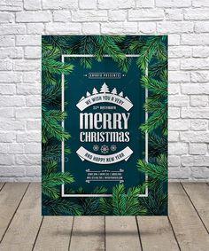 Christmas & New Year Flyer Template Vector EPS, AI Illustrator