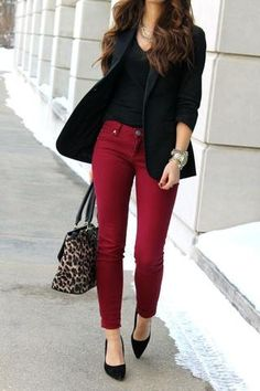 How to Wear Burgundy Pants - How to Wear Burgundy Colored Pants – The Asteris. - How to Wear Burgundy Pants – How to Wear Burgundy Colored Pants – The Asterisk Boutique – Source by g_lieder - Business Casual Outfits For Women, Casual Work Outfits, Mode Outfits, Work Casual, Fashion Outfits, Business Attire, Smart Casual, Casual Art, Hijab Casual