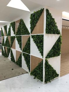 This is a interior green wall design from one of our domestic landscape company! With combination of geometric design and exotic lifelike artificial plants foliage panels, it makes a really great difference for this office interior atriums. Artificial Green Wall, Artificial Hedges, Artificial Plants, Green Landscape, Landscape Walls, Landscape Design, Green Interior Design, Interior Logo, French Interior
