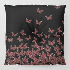 20% Off #Pillows Today!  Free #Worldwide Shipping Today! #Butterflies, #butterfly Horde ;) flying insects themed #pattern, #red and #black, #vector #design #floor #pillow #society6
