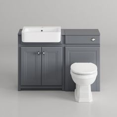 cambridge midnight grey combined vanity unit - back t Small Shower Room, Small Toilet Room, Shower Rooms, Diy Shower, Bathroom Vanity Units, Bathroom Furniture, Toilet Vanity Unit, Bathroom Cabinets, Bathroom Store