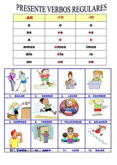 PRESENTE VERBOS REGULARES #learn #spanish #kids
