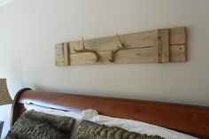 Two natural deer shed antlers wall mount  / wall art / wall hanging / rustic home decor