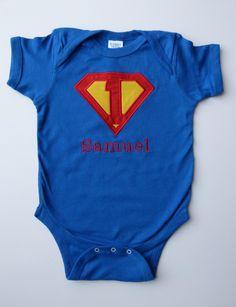 1st Birthday Superhero Personalized Onesie For Boy First Super hero Birthday. $21.00, via Etsy.