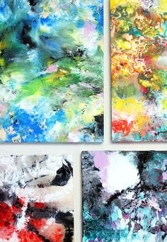 Alisa Burke: marbled acrylic painting | easy way to quickly fill a surface with color and texture